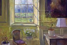 Windows in sunlight painting