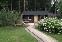 Mökin sauna-alue