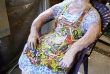L'endormie / sculpture en papier mâché, grandeur nature acrylique et vernis exrérieur...