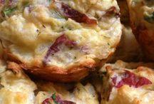 Petits pains au cheddar,basilic, jambon et pommes de terre