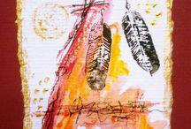 Karten handmade by Uschi Wiese / Jede Karte ein Unikat! Acryl auf Aquarellpapier, Collagen mit Papieren, Gold und Stempeln