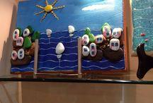 Taş boyama / Deniz kenarindan toplanmis taslardan yapilmis
