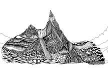 Berge / Bergbilder Tuschezeichnung