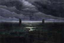 Caspar David Friedrich, Dark Romanticism / Caspar David Friedrich was key member of the Romantic Movement in Germany and forever altered landscape painting to include an intense emotional view. David, as many of the Romantic artists did, diminished man in the larger scale of life showing him in vast wilderness spaces.