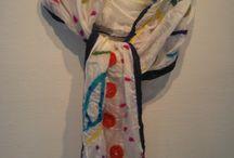 felted scarves / Mine filt designs. Sjaler filtet med uld på silke, eller ulden alene.