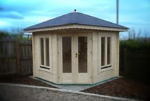 Corner Cabins / Designed to sit in the corner of your garden to make best use of the space available. Can be made any size or shape and 7 different timber thicknesses.