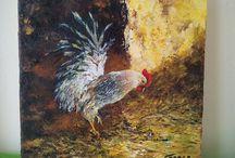 """"""" Gaspar """" Maitre Coq dans la grange ( Acrylique )"""