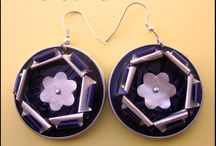 boucles d'oreilles fleurs bleues argentées