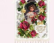 Romantic Victorian Wall Hangings Signs / Vintage graphics, sweet sentiments, venetian lace, beading, ribbon and buttons create the perfect touch for any wall in the house.