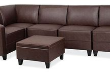 Sequence Series...Have a Seat anyway you want it...! / Provide plentiful seating with the Sequence Serice Modular Reception furniture. This stylish yet afforable look is sure to impress. Available in durable black or brown leather upholstery and many configuration possibilities. #ReceptionFurniture #LoungeFurniture #OfficeSource #SectionalSofa