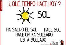 ¿qué tiempo hace en español? / Expresiones y vocabulario para hablar del tiempo en español. Aprender español, estudiar español
