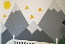 Mountain Mural Nursery / I painted this mountain mural nursery for the Holmes Next Generation TV show.  See pics of the adorable baby bedroom, including the decor made by Mike Holmes Jr and Sherry Holmes!