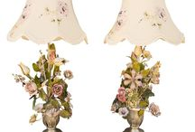 Italian floral tole lamps and lighting