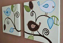 Cajas pintadas con pajaritos
