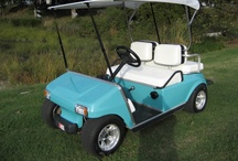First Custom Golf Cart / This is my first custom cart, was a standard Club Car, we made dropped spindles for the front suspension, the rear was dropped by tweaking the rear shackles, body was painted 57 Chevy Tropical Turquoise, Had a real convertible top, redid the seat covers white, installed chrome low profile tires