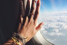 небо самолет девушка