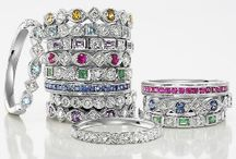 STACKABLE RINGS - Diamonds - Colored stones - Gold / Assortment of beautiful natural colored stone and diamond rings meant to be worn alone or stacked to create your own look.