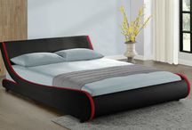 Modern Bed Frame Double Room Black Faux Leather Stylish Beautiful Home Furniture