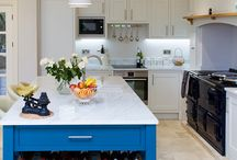 Blue Kitchen / Beautiful painted inframe kitchen with carerra marble worktops.