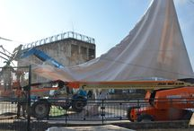 Development of Hornblower Ticketing Plaza / After months of digging and developing, the sails to our Hornblower Ticketing Plaza have been put up and ready for their next stage before officially opening Niagara's newest experience. #NiagaraCruises