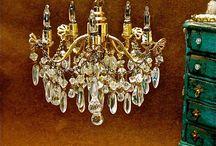 Dollhouse-Miniatures-Lamp, Chandelier...