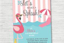 Charlies 6th birthday, Flamingo pool party