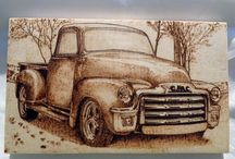 Pyrography on wood and leather