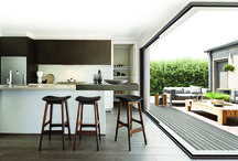 Corner and Cavity Sliding Doors / Innovative new external cavity sliding doors. As the name suggests, the panels can be pushed back into the wall space.