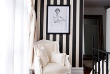 Black & White Striped Accent Wall