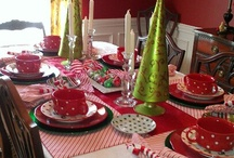My green and red Christmas tablescape / by Sue Ellen Bennett