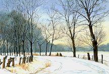 Winter - painted by Bert Heemskerk / Sneeuw doet alles veranderen in een harmonieuze, vaak sprookjesachtige sfeer.