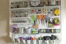 Craft Room Ideas / All DIYers and crafters need a place to store supplies and create those projects, paint or sew. Here is my collection of ideas for organization, storage and resources.