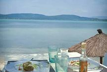Greek gastronomy / Greek cuisine at its best, especially enjoyed at a taverna by the sea while drinking tsipouro.