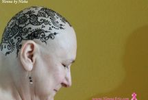 Survivors - Henna Crown / Henna tattoo on head of cancer survivors who lost the hair after chimo. Henna gives cool effect and also fills the gap of hair.