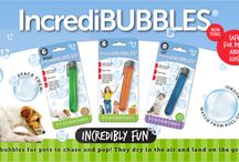 IncrediBubbles / IncrediBubbles don't pop when they touch the ground!  Blow long-lasting bubbles for pets to chase and pop. Bubbles dry in the air, and land on the ground intact, waiting to be attacked by cats and dogs alike. Pets really love chasing and bursting these bubbles! Economical and fantastic fun. Comes in peach flavor (non-toxic of course), with tamper-resistant blister card packaging.
