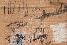 carton & papier kraft arty / cardboard & brown paper arty / collection de créations plastiques 2D sur support carton ondulé et papier kraft / by - SAND -