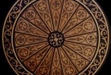 Medallion marquetry inlays