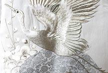金线刺绣鹤