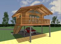 Beach House 308 sq. ft. Floor Plan / R.C.M. CAD DESIGN DRAFTING LTD is an architectural design firm primarily specializing in log and timber construction projects. We feature over 150 of our most creative designs categorized by living space total square footage.