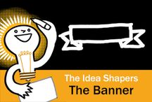 The Idea Shapers: The Banner / In her 2016 book The Idea Shapers, Brandy Agerbeck makes visual thinking attainable and enjoyable through a set of 24 Idea Shapers. The Banner is the sixth visual thinking concept in the second step, SORT + GROUP.