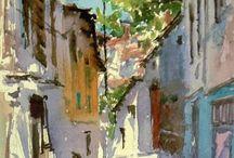 reinders watercolor of street scene