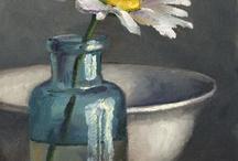 Kunst bloem in fles