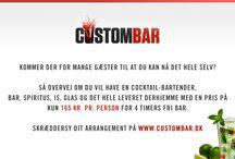 CustomBar / Få inspiration, tips og tricks til at hoste det perfekte cocktail-arrangement!   CustomBar leverer skræddersyede cocktailløsninger med fri bar fra kun 165 kr. i hele landet. Find komplet pris på dit arrangement på vores hjemmeside.