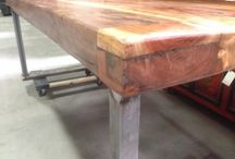 Welded Metal and Wood Furniture / We custom fabricate metal bases with new and recycled wood tops for tables, bar stools, sofa tables, benches and more