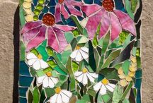 Wildflowers stained glass mosaic
