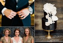 black+ gold + pink wedd