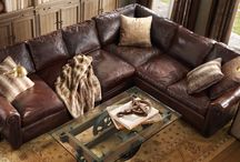 living room decor with brown couches