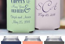 Wedding Koozie Ideas / Wedding koozies are useful, fun and make great wedding souvenirs.... and guests love them. We're sharing koozies from customers and brides who used them as a fun accent to their wedding day.