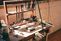 Workshop & tools / workshop, tools, working bench, shelves for tools.
