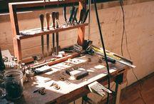 Workshop & tools / workshop, tools, working bench, shelves for tools.